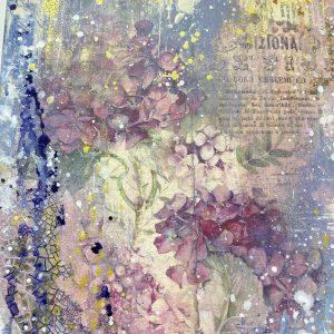 """Интерьерный холст """"Весенние гортензии"""", микс медиа арт: онлайн курс Натальи Жуковой, 8 видео-уроков"""