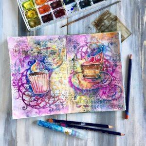 Сладкая жизнь: арт завтрак с Натальей Жуковой и с микс медиа артбуками в кафе Берри Бред