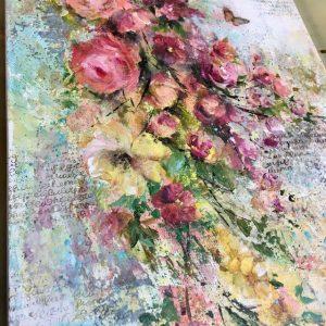 Каскад роз, интерьерное микс медиа панно: мастер-класс Натальи Жуковой в студии