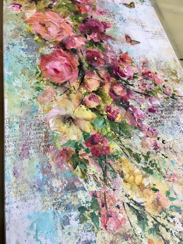 Каскад роз, микс медиа панно: мастер-класс Натальи Жуковой в студии 29 марта в 11:00