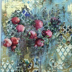 Золотой сад, интерьерное микс медиа панно: мастер-класс Натальи Жуковой в студии