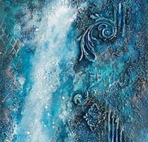 Водопад, интерьерное микс медиа панно: мастер-класс Натальи Жуковой в студии