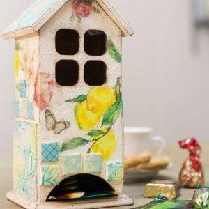 Чайный домик с изразцами, декор и декупаж: видео мастер-класс Натальи Жуковой для начинающих