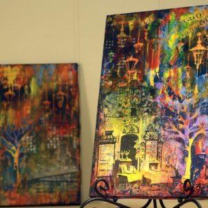 Вечерние огни, интерьерное панно и приемы резерважа в микс медиа искусстве: видео курс Натальи Жуковой по Mixed Media.